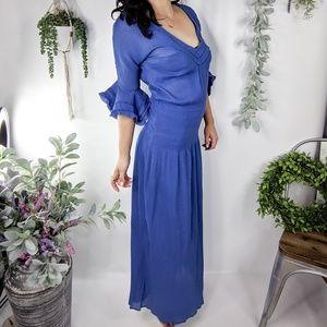 VIX Blue gauze flare sleeve maxi dress coverup 754